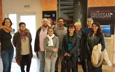 Accueil à Gruissan des équipes de la Ville, de l'OT et de la Capitainerie du Barcarès, dans le cadre du Benchmarking Tourisme et Croissance Bleue